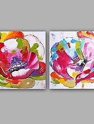 Ручная роспись Абстракция Цветочные мотивы/ботанический Картины маслом,Классика Европейский стиль 2 панели Холст Hang-роспись маслом For