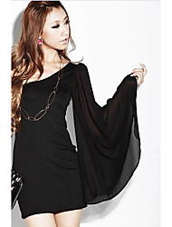 Women's Casual/Daily Sexy Sheath Dress,Solid Off Shoulder Mini ½ Length Sleeve Black Others Spring / Fall Low Rise Micro-elastic Medium