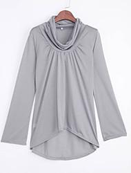 Tee-shirt Femme,Couleur Pleine Décontracté / Quotidien simple / Chic de Rue Printemps / Automne Manches Longues Asymétrique Rouge / Gris