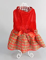 Cachorro Vestidos Roupas para Cães Fofo Da Moda Mantenha Quente Natal Xadrez Vermelho