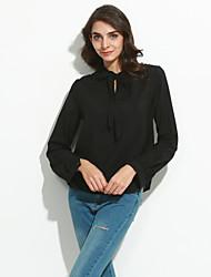 Damen Solide Sexy / Einfach Lässig/Alltäglich / Übergröße T-shirt,V-Ausschnitt Frühling / Herbst Langarm Rot / Beige / Schwarz Polyester