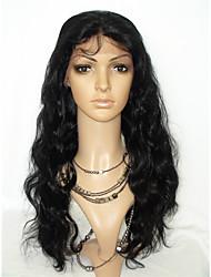 жен. Парики из натуральных волос на кружевной основе Натуральные волосы Лента спереди 130% плотность Естественные кудри Парик Черный
