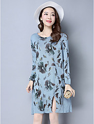 Women's Holiday Cute Sweater Dress,Print Round Neck Above Knee Long Sleeve Blue White Green Purple Linen Spring Mid Rise Micro-elastic