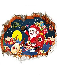 3D Christmas Wall Stickers Santa Claus Stickers Cartoon Derer Decals for Family Home Decor