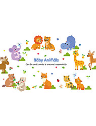 Wall Stickers Wall Decals Style Squirrel Elephant Animal Park PVC Wall Stickers