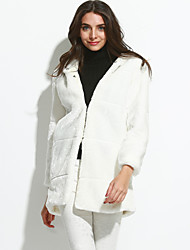 Women's Going out Simple Winter Fur Coat Round Neck Long Sleeve White Faux Fur Thick