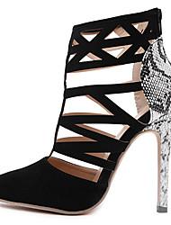 Mariage Habillé Soirée & Evénement-Noir-Talon Aiguille-Confort Nouveauté club de Chaussures Light Up Chaussures-Sandales-Daim