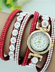 Women's Bracelet Watch Quartz Velvet Rhinestone Leather Band Charm