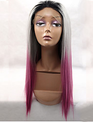 Black Root Three Tone Pink Hair End Synthetic Lace Front Wigs Straight Hair Heat Resistant Synthetic Hair Fiber Wigs