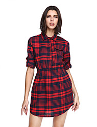 Women's Going out Casual/Daily Cute Shirt Dress,Plaid Notch Lapel Above Knee ½ Length Sleeve Red Cotton Polyester Fall Mid Rise