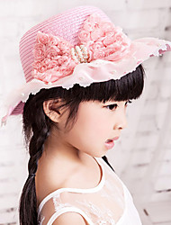 Girl's Fashion Cotton Summer Going out/Casual/Daily Lace Bowknot Sand Beach Headgear Weave Straw Hat Children Cap