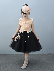 Ball Gown Knee Length Flower Girl Dress - Tulle Charmeuse Sleeveless Jewel Neck