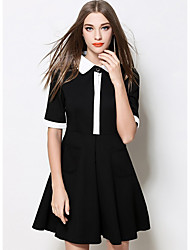 Women's Formal Work Sophisticated A Line Dress,Solid Shirt Collar Above Knee ½ Length Sleeve Polyester Black Fall Mid Rise Micro-elastic