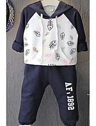 Boy Going out Casual/Daily School Animal Print Sets,Cotton Spring Fall Long Sleeve Clothing Set