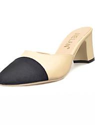Damen-Sandalen-Lässig-PU-Blockabsatz-Komfort Fersenriemen-Beige