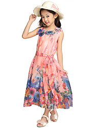 Girl's Cotton Casual Summer Going out Casual/Daily Sweet Floral Print Bowknot Sleeveless Longuette Princess Dress