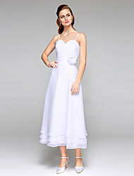 2017 Lanting Bride® A-line Wedding Dress - Classic & Timeless Open Back Tea-length Spaghetti Straps Chiffon with Flower Side-Draped Tiered