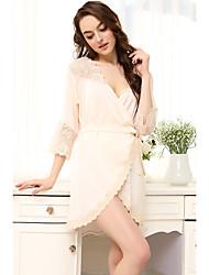Damen Dessous Satin & Seide Besonders sexy Anzüge Nachtwäsche,Sexy Spitze Druck einfarbig-MittelmäßigPolyester Satin Seide Bambusfaser