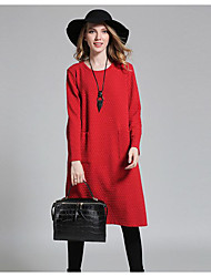Damen Tunika Kleid-Lässig/Alltäglich Boho Geometrisch Rundhalsausschnitt Midi Langarm Rot Schwarz Baumwolle Winter Mittlere Hüfthöhe