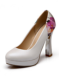 Women's Heels Spring Summer Fall Other Patent Leather Office & Career Party & Evening Casual Chunky Heel Flower Blue Pink White