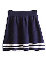 Women's A Line Striped Knitting Skirts,Casual/Daily Mid Rise Above Knee Elasticity Cotton Stretchy Fall / Winter