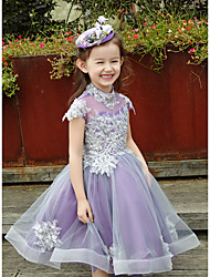 Ball Gown Floor-length Flower Girl Dress - Charmeuse 3/4 Length Sleeve V-neck with Bow(s) / Sash / Ribbon