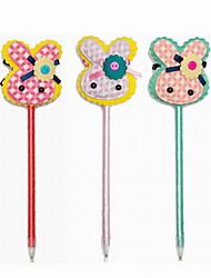 Fashion Plastic/Cloth/Ribbon Handmade Rubbit BallPoint Pen