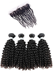 Kinky Curly Virgin Hair Extensions Human Weave Weft Malaysian Texture Black Hair Remy 4 Bundle With 1 Lace Closure Fast Shipping