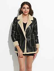 Fashion Winter Women's Casual Long Sleeve Black / Beige PU Plus Velvet Warm Coat Leather Windbreaker