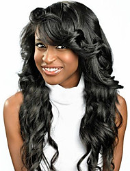 Indian Human Virgin  Hair Natural Black Color Loose Body Wave Lace Front Wig With Baby Hair