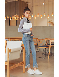 Femme Boot Cut Jeans Pantalon,Vintage simple Street Chic Décontracté / Quotidien Couleur Pleine Taille Haute fermeture Éclair Coton