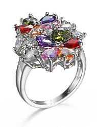 Fashion Brand Design Colorful Zircon Women Jewelry Rings Romantic Gift Platinum Plating Lady Ring  90848