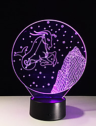 1pc estéreo colorido capricórnio visão levou lâmpada de luz da lâmpada 3d colorido gradiente de acrílico visão lâmpada noite