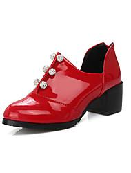 Damen-High Heels-Kleid-Kunstleder-Blockabsatz-Andere-Schwarz Rot Weiß