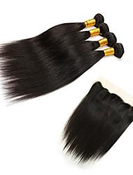 Tissages de cheveux humains Cheveux Indiens Droit 6 Mois 5 Pièces tissages de cheveux