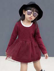 Girl's Casual/Daily Patchwork Dress,Cotton Blend Mesh Spring Fall Long Sleeve