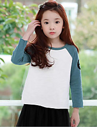 Girl Casual/Daily Solid Blouse,Rayon Spring Long Sleeve Regular