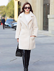Women's Casual/Daily Street chic Fur Coat,Solid Hooded Long Sleeve Fall Winter Beige Faux Fur Thick