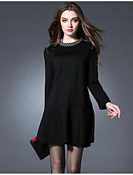 Women's Formal Sophisticated Shirt Dress,Solid Round Neck Above Knee Long Sleeve Red Black Polyester Spring Mid Rise Stretchy Medium