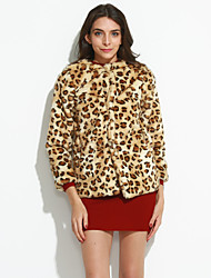 Women's Plus Size / Casual/Daily / Party/Cocktail Simple Fur Coat,Leopard Round Neck ¾ Sleeve Fall /