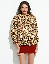 De las mujeres Simple Casual/Diario / Fiesta/Cóctel / Tallas Grandes Leopardo Abrigo de Piel,Escote Redondo 3/4 Manga Otoño / Invierno