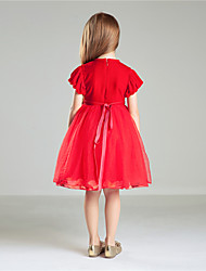 Princess Knee-length Flower Girl Dress - Velvet Chiffon Short Sleeve Jewel with Appliques Bow(s)