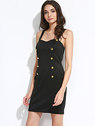 Women's Backless Gold Button Fly Side Mock Pocket Mini Dress