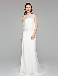 LAN TING BRIDE Sheath / Column Wedding Dress - See-Through Beautiful Back Chapel Train Jewel Chiffon with Ruffle
