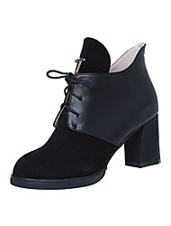 Women's Boots Fall Winter Other PU Casual Others Lace-up Black Light Brown Coffee