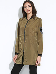 Damen Solide Einfach / Street Schick Ausgehen / Lässig/Alltäglich Jacke,Ständer Frühling / Herbst Langarm Schwarz / Grün Polyester Dünn