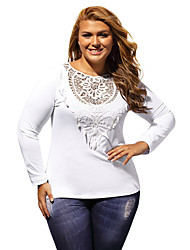 Women's Long Sleeves Plus Size Crochet Lace Top