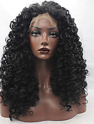 Kinky Curly Synthetic Hair Fiber Wigs Natural Black Color Heat Resistant Synthetic Lace Front Wig With Middle Brown Lace Color