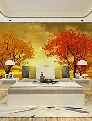 JAMMORY Art DecoWallpaper For Home Wall Covering Canvas Adhesive required Mural Sunshine Trees XL XXL XXXL