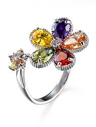 Hot Sale Fashion Antique Rings Colorful Petal Shape Zircon Platinum Plating Women Jewelry Engagement Wedding Rings